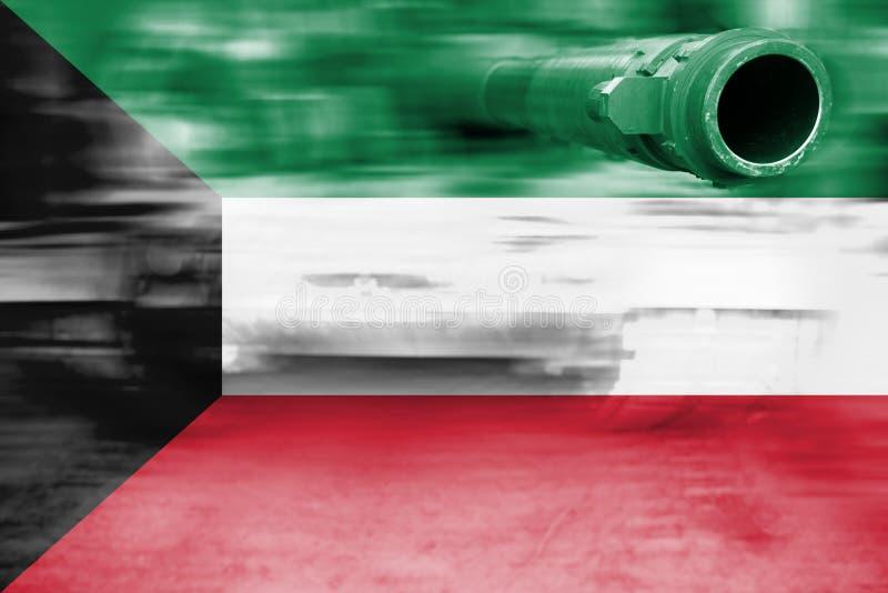 Siły wojska temat, ruch plamy zbiornik z Kuwejt flaga obrazy stock