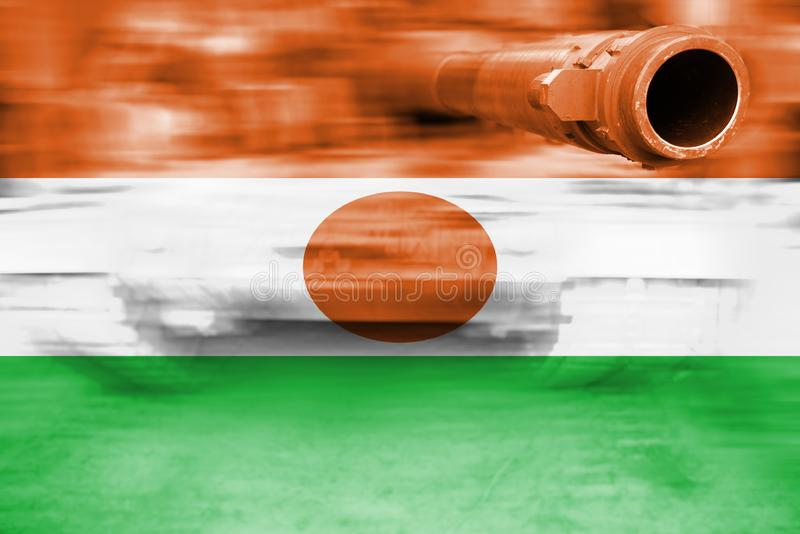 Siły wojska temat, ruch plamy zbiornik z Niger flaga obraz stock