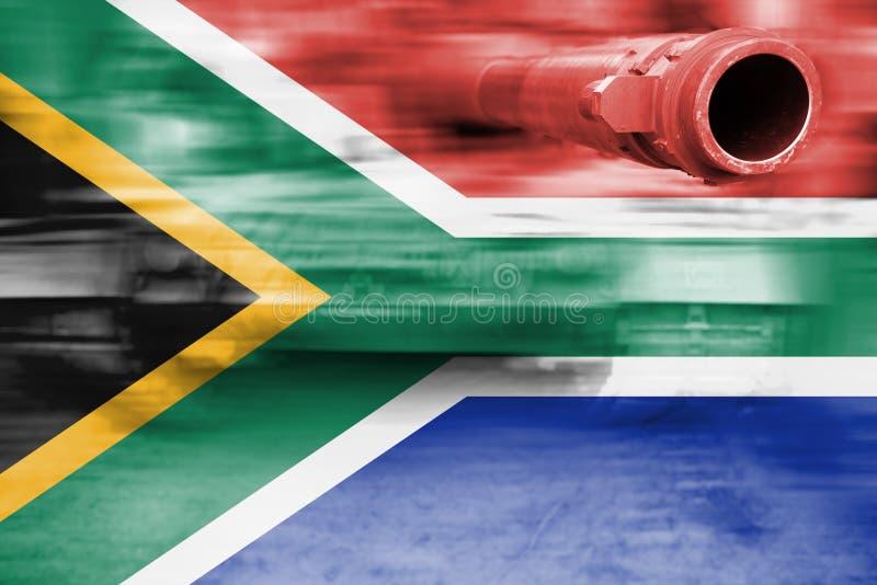 Siły wojska temat, ruch plamy zbiornik z Południowa Afryka flaga zdjęcia stock