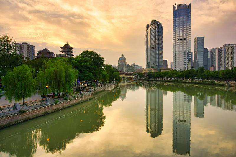 Si Chuan, Cheng du City στην Κίνα Μια όμορφη πόλη, συνδυασμός στοκ φωτογραφία
