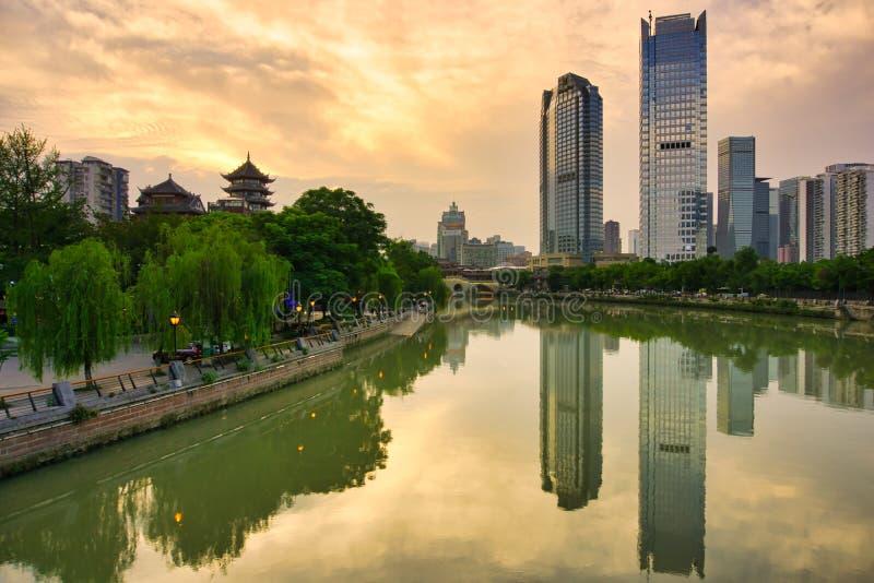 Si Chuan, Cheng Du City in China Een mooie stad, combinatie stock fotografie