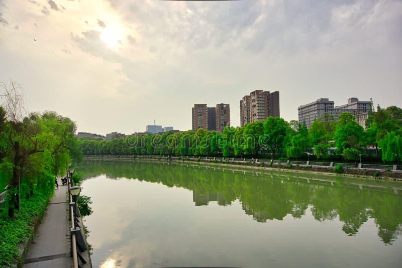 Si Chuan, Cheng Du City in China Een mooie stad, combinatie stock foto's