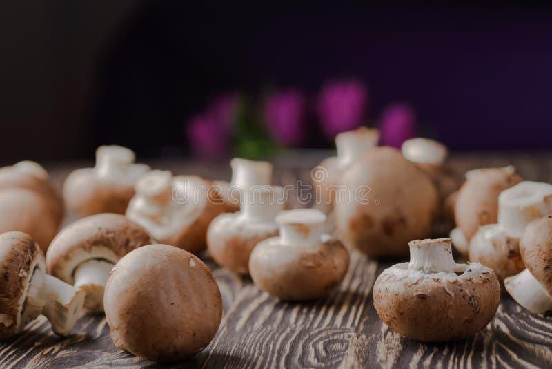 Si espande rapidamente i funghi prataioli su un fondo di legno immagine stock