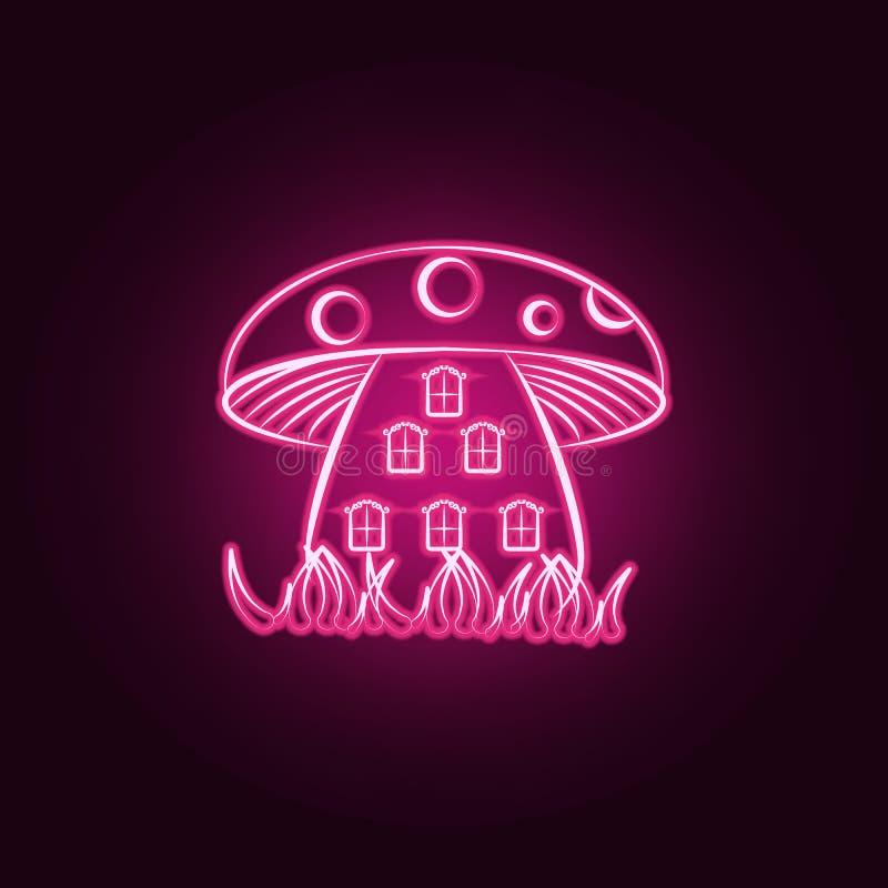 Si espande rapidamente la casa, icona al neon della casa immaginaria Elementi dell'insieme immaginario della casa E royalty illustrazione gratis