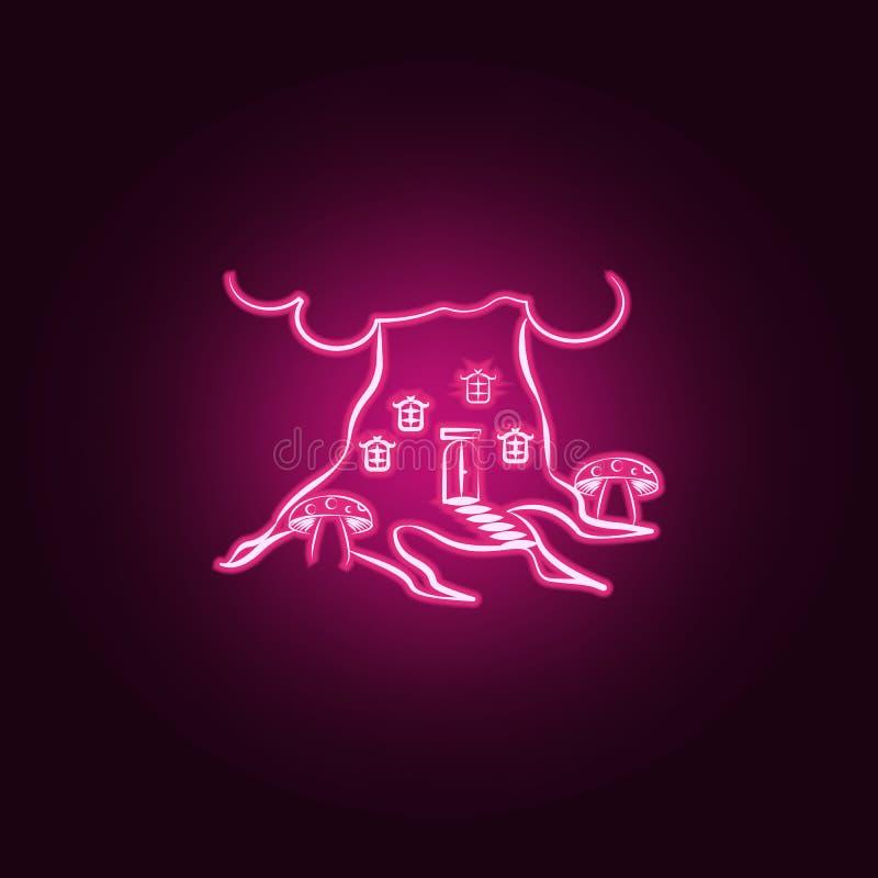 Si espande rapidamente la casa, icona al neon della casa immaginaria Elementi dell'insieme immaginario della casa E illustrazione vettoriale