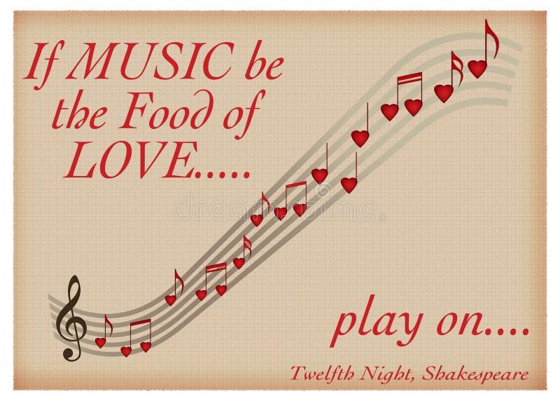 Si la música esté la comida del juego del amor prendido - tarjeta del día de San Valentín de Shakespeare fotos de archivo