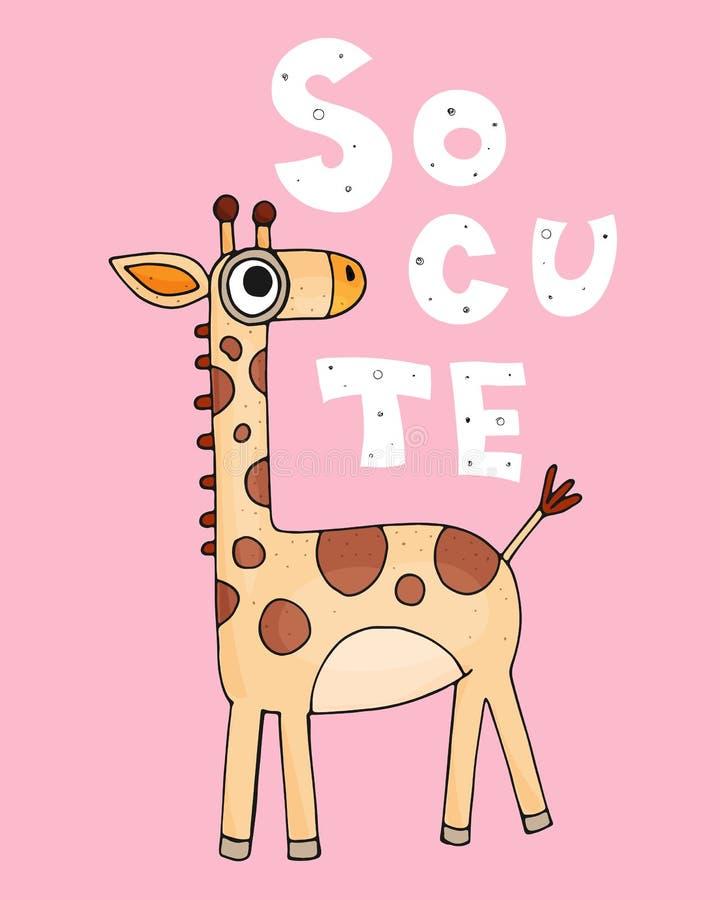 Si mignon Girafe colorée par bande dessinée mignonne avec une inscription sur un fond neutre Illustration de vecteur illustration stock