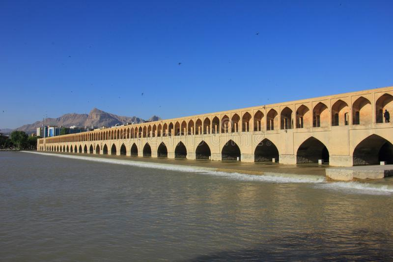 Si-o-se-pol Bridge whic also serve as a dam in Isfahan, Iran. royalty free stock images
