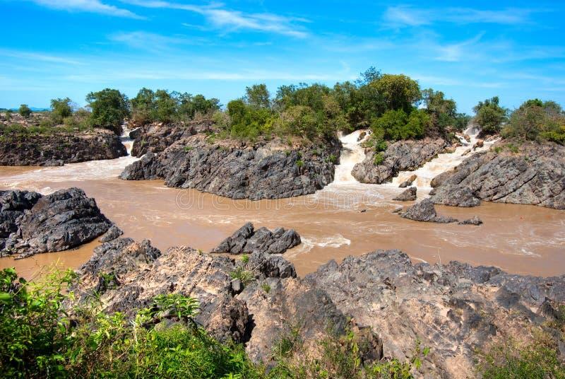 Si Phan trekt, Mekong Rivier, Laos aan. royalty-vrije stock afbeeldingen