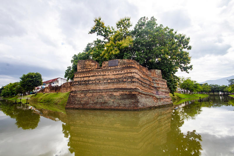 Si Phum Corner the ancient wall in Chiang Mai royalty free stock image