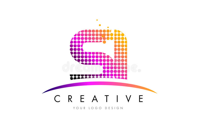 SI S I Letter Logo Design with Magenta Dots and Swoosh. SI S I Dots Letter Logo Design with Magenta Bubble Circles and Swoosh stock illustration