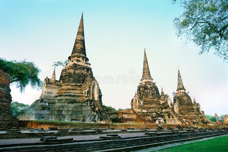 Si Sanphet van Phra van Wat was de heiligste tempel op de plaats van oud Royal Palace in het oude kapitaal van Thailand van Ayutt stock afbeelding