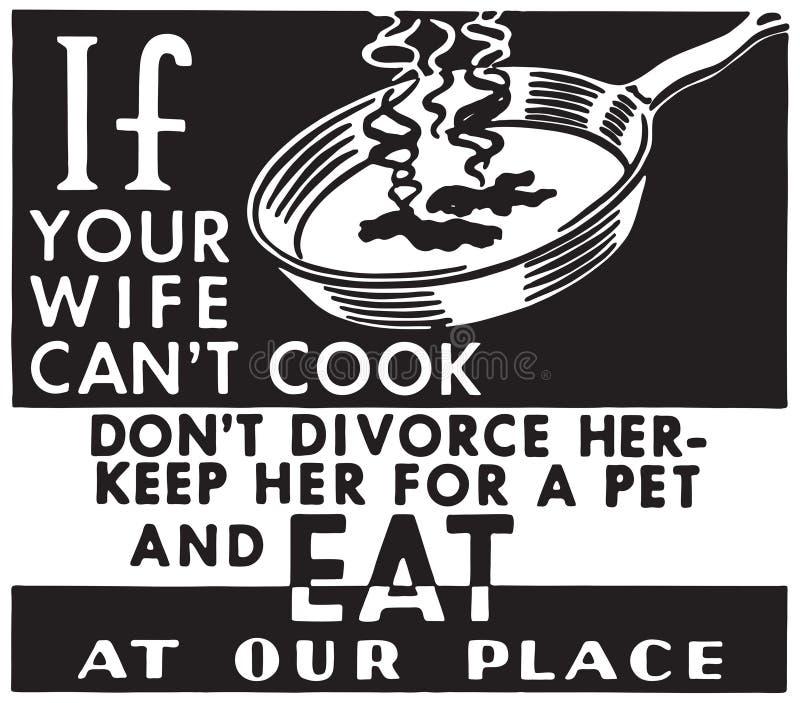 Si su esposa no puede cocinar ilustración del vector