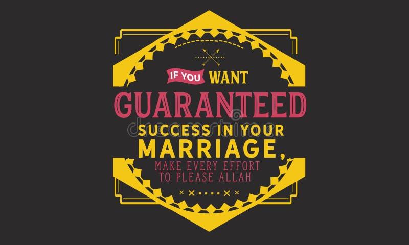 Si usted quiere garantizó éxito en usted boda, hace todo lo posible para satisfacer a Alá ilustración del vector