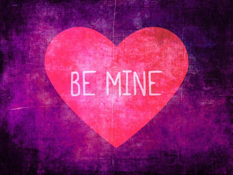 Sia i miei cuore di rosa sul fondo porpora di lerciume immagine stock libera da diritti