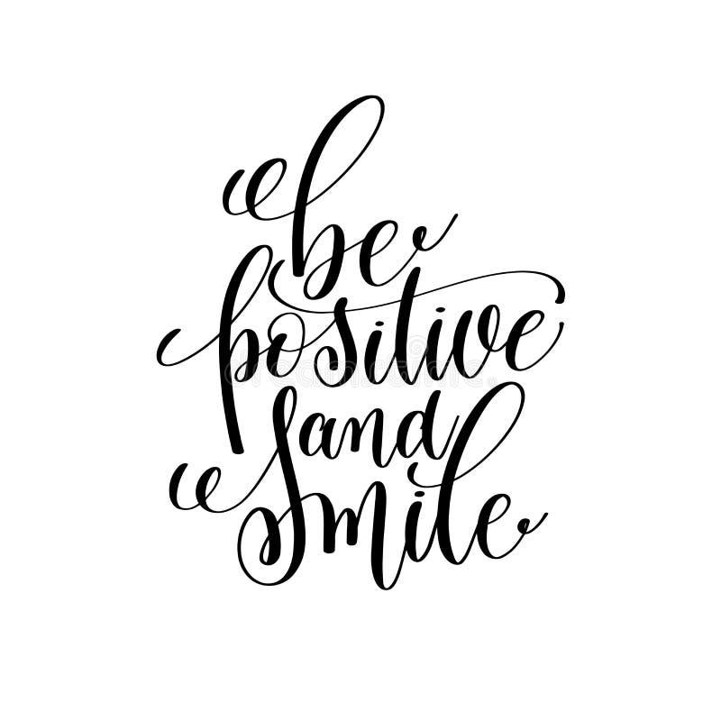 Sia inchiostro in bianco e nero di sorriso e positivo che segna il quo con lettere positivo royalty illustrazione gratis
