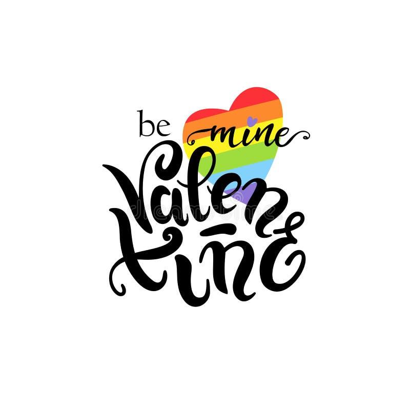 Sia miniera Valentine Gay Lettering Manifesto concettuale con l'iscrizione della mano dell'arcobaleno di LGBT Frase scritta a man illustrazione di stock