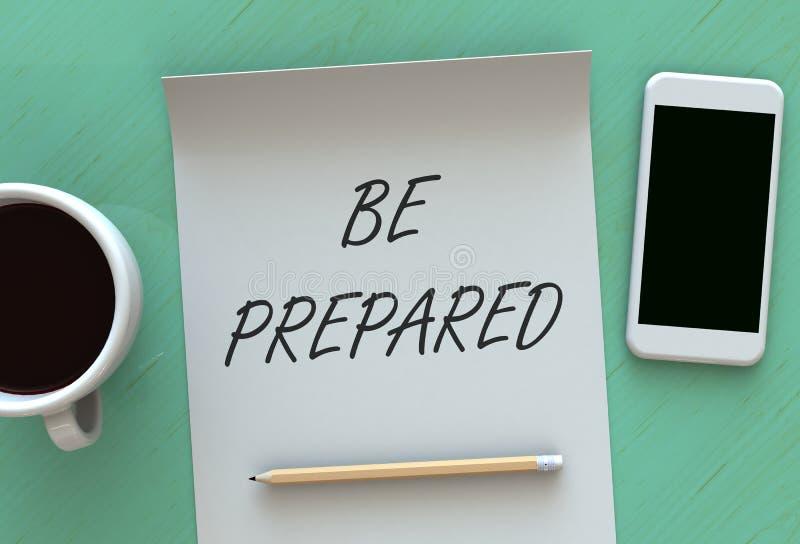 SIA PREPARATO, messaggio su carta, Smart Phone e caffè sulla tavola illustrazione di stock