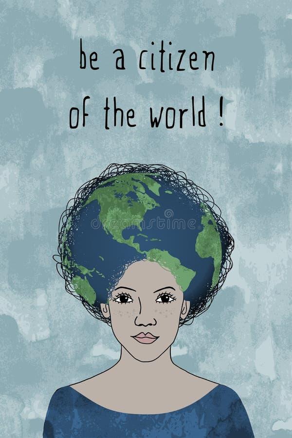 Sia un cittadino del mondo! - il ritratto della ragazza disegnata a mano royalty illustrazione gratis