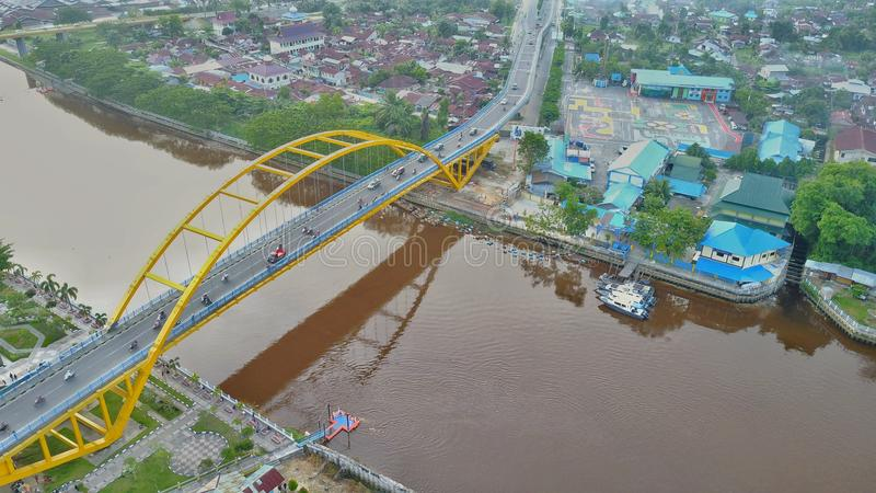 Siak-Brücke III in Pekanbaru-Stadt, Riau - Indonesien stockbild