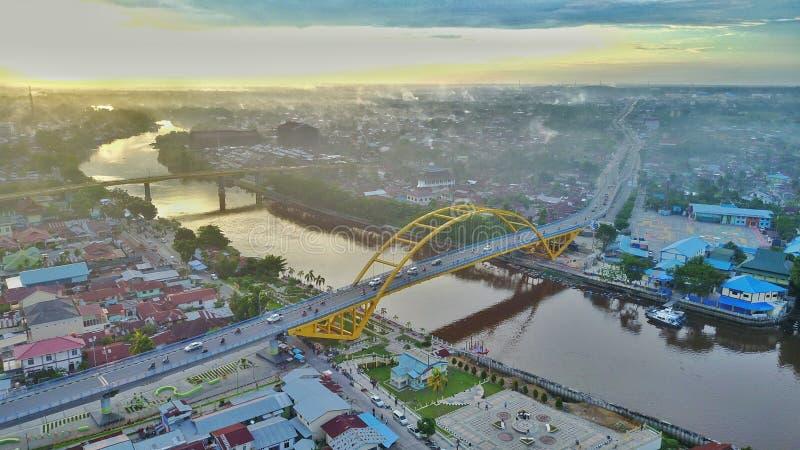 Siakbrug III in Pekanbaru-Stad, Riau - Indonesië stock afbeelding