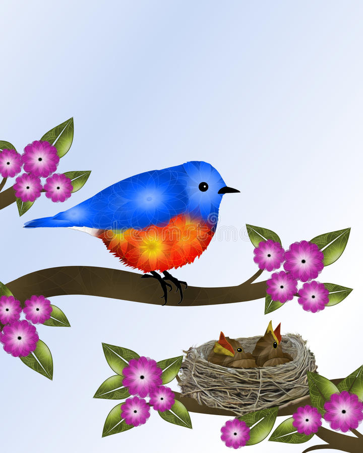 Sialia en Babys in Nest royalty-vrije illustratie