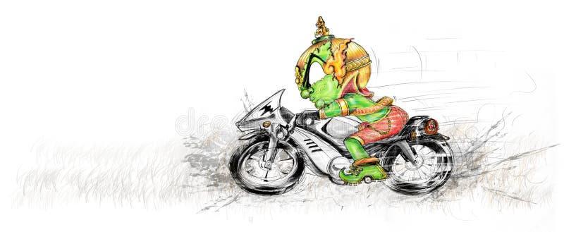 Siam Gumphant Thai Giant Ridding Big Bike Cartoon stock photo