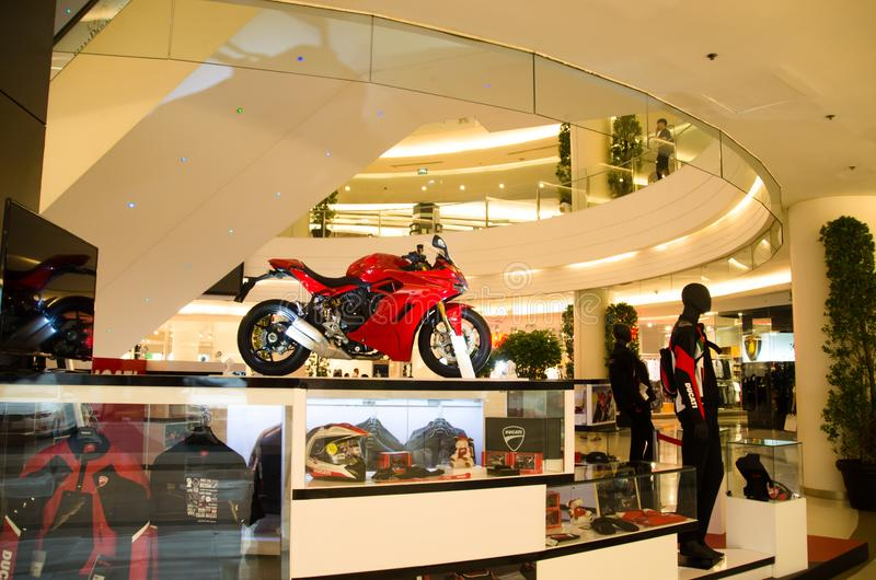 The real super Motor red DUCATI 2017 2sn floor at center of siam paragon pride of bangkok Thailand. royalty free stock photo