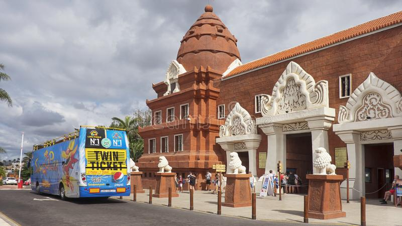 Siam Park entrance, Costa Adeje, Tenerife, Canary Islands, Spain. Siam Park, Costa Adeje, Tenerife, Canary Islands, Spain - October 29, 2018: free bus and stock images