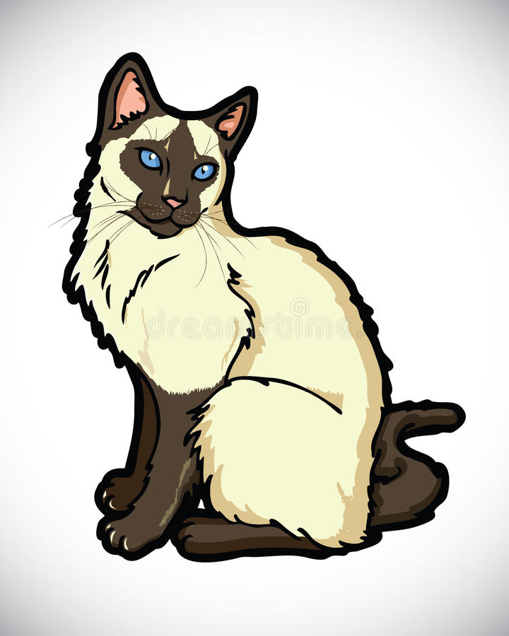 Free Siamese Cartoon Cat Royalty Free Stock Images - 26503139