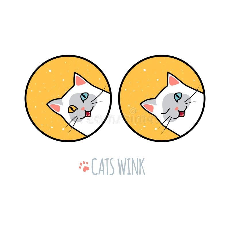Siamesische Cat Wink und Lächeln Gezeichnetes Bild des Vektors Hand Logo Concept für Kitten Food, Tierheime oder Tierarzt-Klinike lizenzfreie abbildung