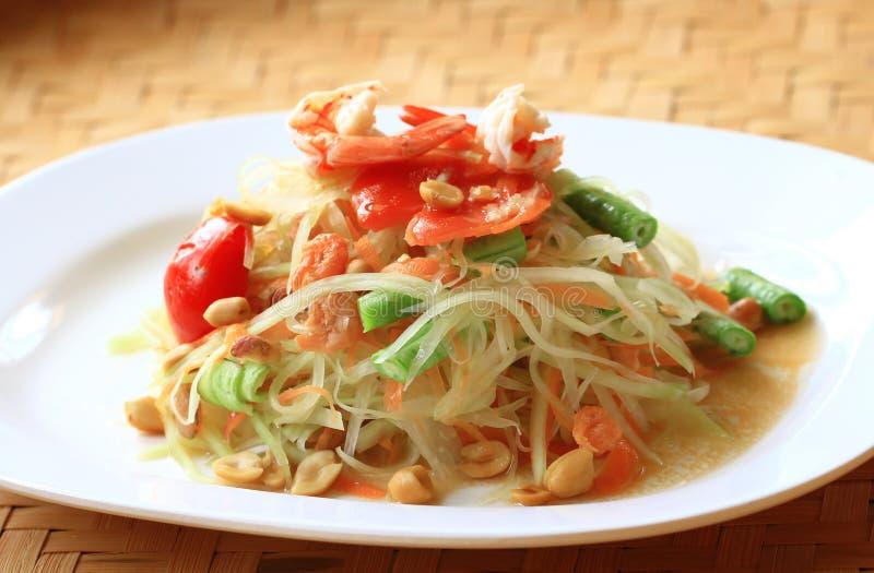 Siamesische Küche des grünen Papayasalats lizenzfreies stockbild