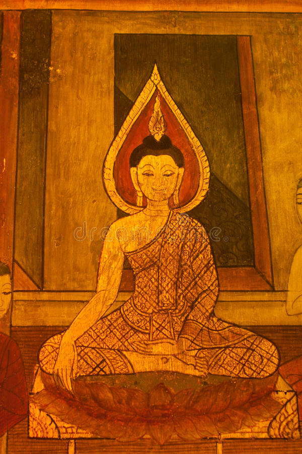 Siamesische Kunst des Musters auf Tempelwänden. stockfotografie