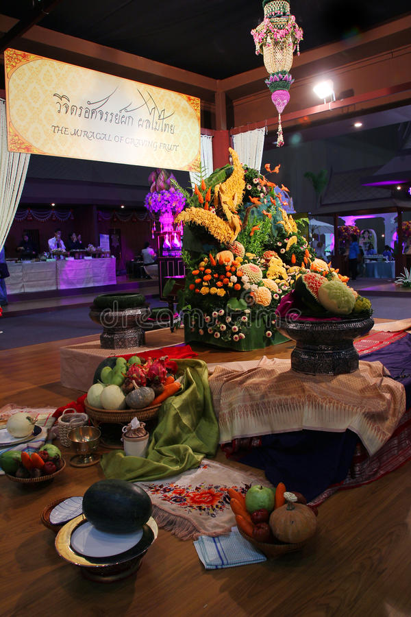 Siamesische Obst- und Gemüse Ausstellung stockfotos