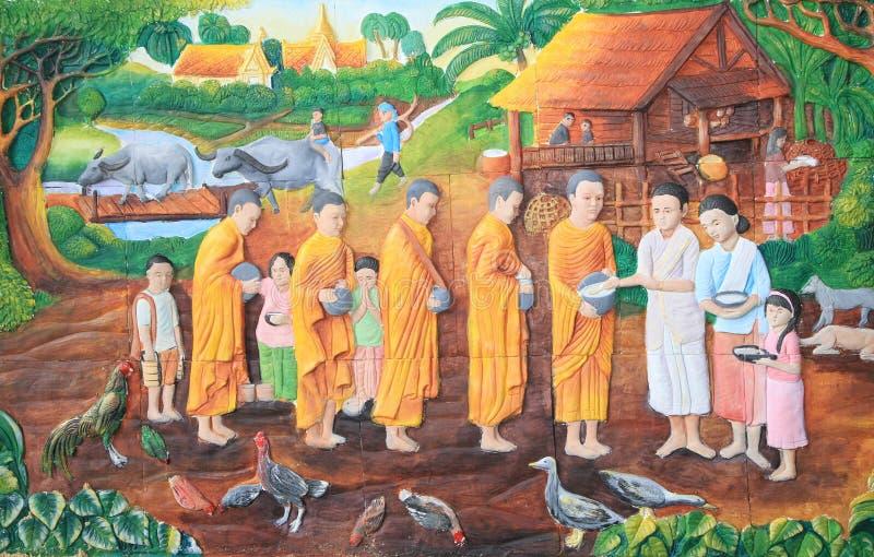 Siamesischer Stuck der gebürtigen Kultur auf der Tempelwand lizenzfreie stockfotos
