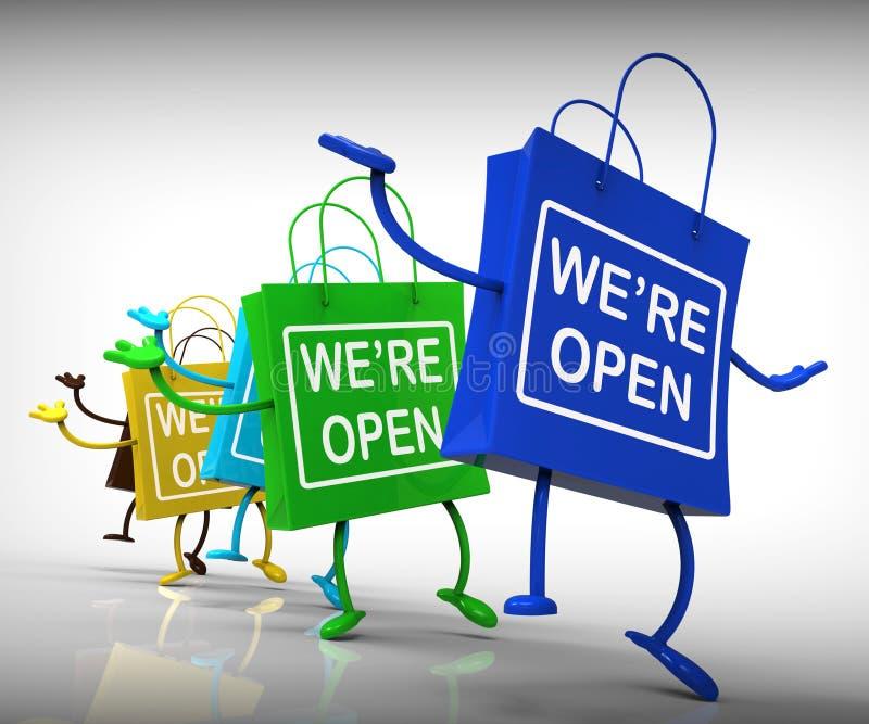 Siamo disponibilità aperta di acquisto di manifestazione delle borse illustrazione vettoriale