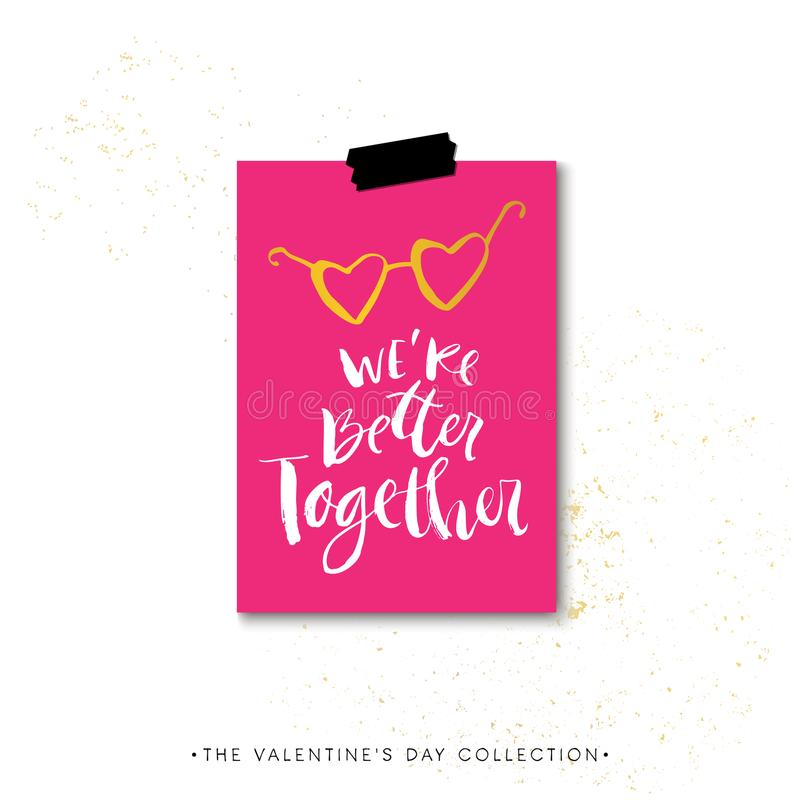 Siamo insieme migliori Carta di regalo di calligrafia di giorno di biglietti di S. Valentino Ha illustrazione di stock