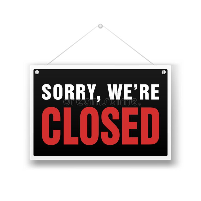 Siamo segno chiuso Illustrazione del nero della vendita al dettaglio illustrazione vettoriale