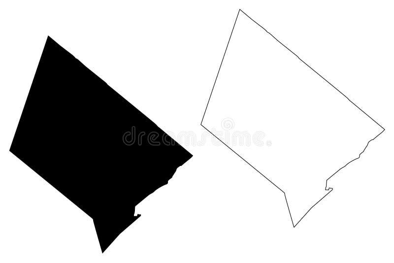 Siano okręgi administracyjni, Teksas okręgi administracyjni w Teksas, Stany Zjednoczone Ameryka, usa, U S , USA mapy wektorowa il royalty ilustracja