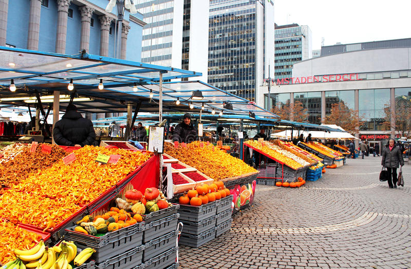 Siano rynek na Hotorget kwadracie, Sztokholm (Hotorget) obraz royalty free