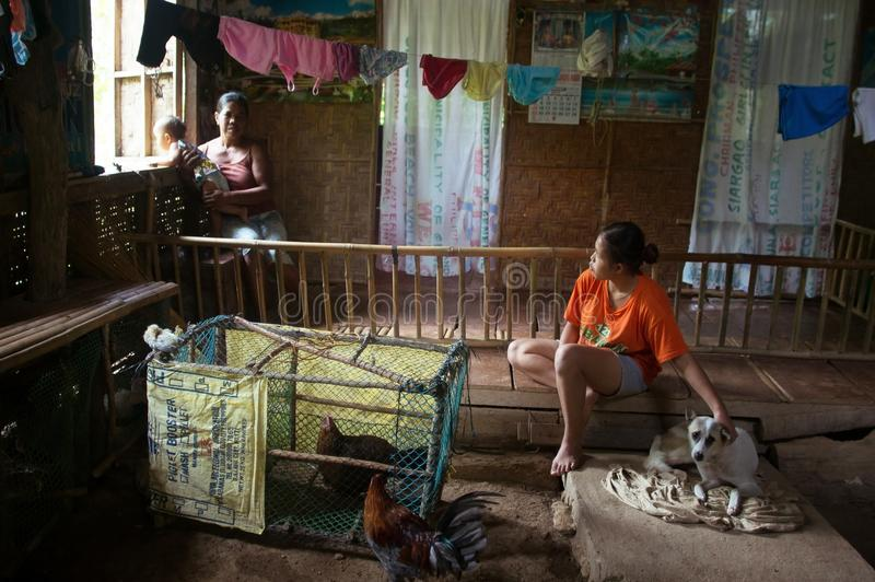 Siargao Filippinerna - MARS 18, 2016: den fattiga filippinska familjen i huset med en hund och hönor bor i det samma rummet royaltyfria bilder
