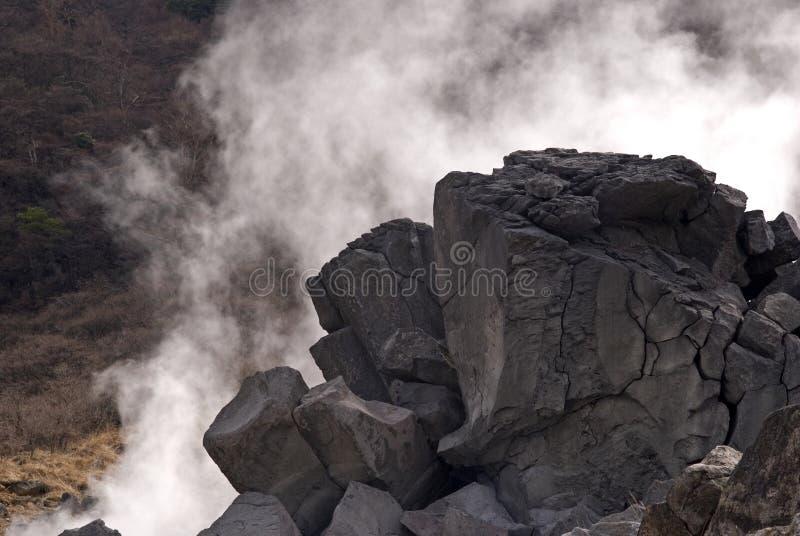Siarkawy opary, Owakudani, Japonia obraz stock