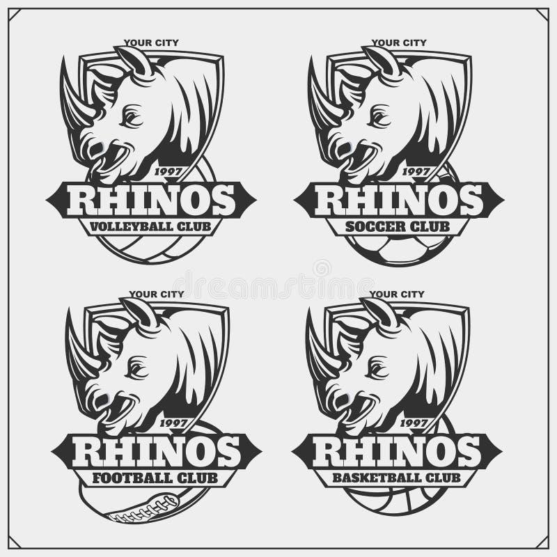 Siatkówka, baseball, piłka nożna, futbol etykietki i logowie, i Sporta klubu emblematy z nosorożec royalty ilustracja
