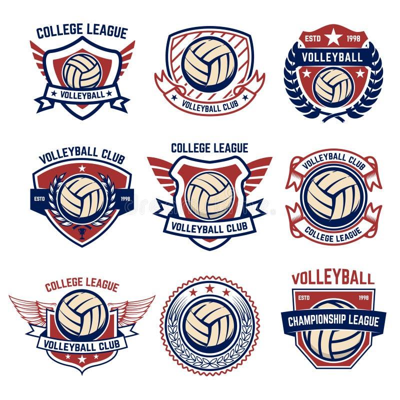 Siatkówka emblematy na białym tle Projektuje element dla loga, etykietka, emblemat, znak, odznaka royalty ilustracja