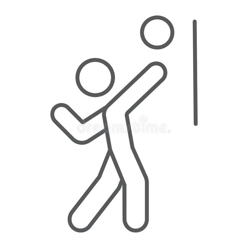 Siatkówka gracza cienka kreskowa ikona, sport i aktywny, osoba z piłka znakiem, wektorowe grafika, liniowy wzór na bielu ilustracja wektor