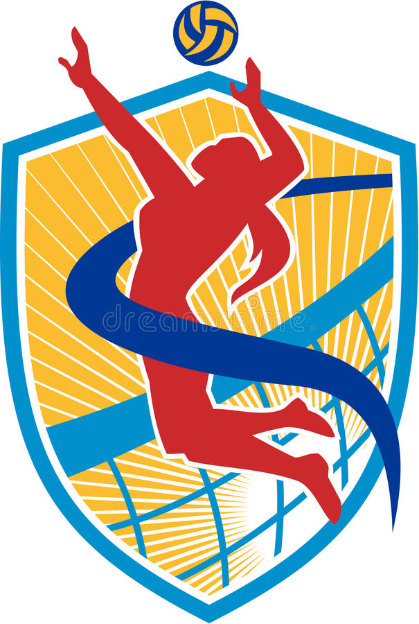 Siatkówka gracza gwożdżenia Balowa osłona ilustracja wektor