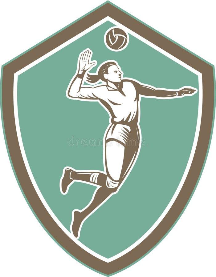 Siatkówka gracza gwożdżenia Balowa osłona Retro ilustracja wektor