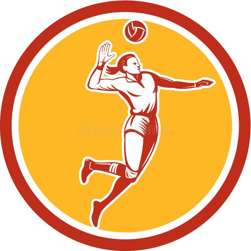 Siatkówka gracza gwożdżenia Balowy okrąg Retro ilustracji