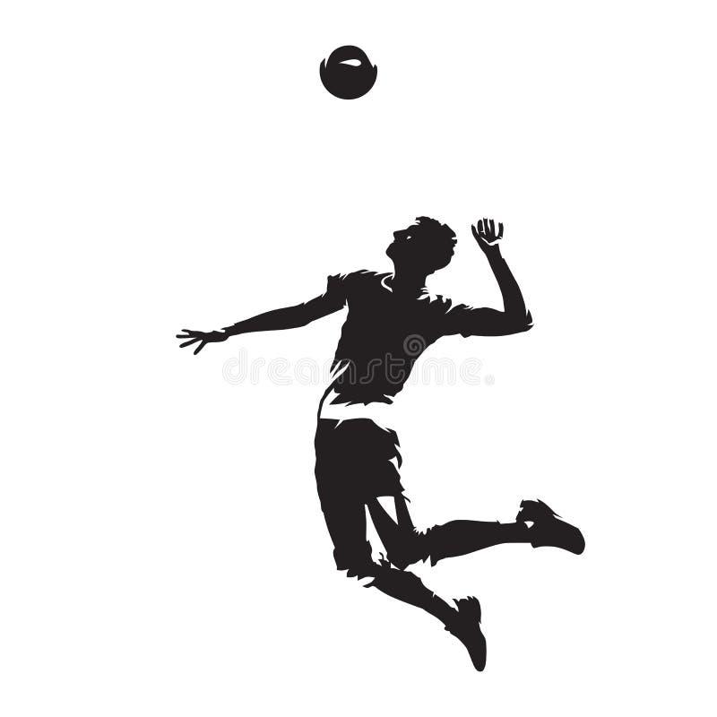 Siatkówka gracza porci piłka, abstrakcjonistyczna wektorowa sylwetka royalty ilustracja