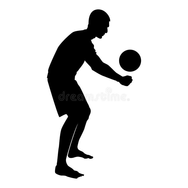 Siatkówka gracza uderzenia piłka z dolnego sylwetka bocznego widoku ataka ikony czerni koloru balową ilustracją ilustracja wektor